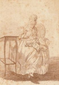 Artwork by Louis Rolland Trinquesse, Une femme assise cousant près d'une petite table, Made of red and black chalk on light brown paper.jpg