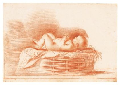 GIOVANNI FRANCESCO BARBIERI, CALLED GUERCINO STUDY OF AN INFANT IN A BASKET (THE CHRIST CHILD).jpg