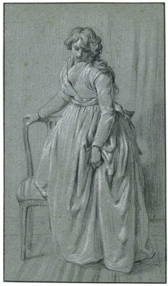 LOUIS-LÉOPOLD BOILLY STANDING YOUNG WOMAN WITH A CHAIR