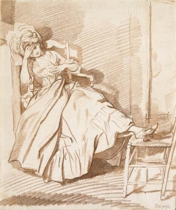 Louis Rolland Trinquesse A girl sleeping in an armchair, her feet resting on a chair.jpeg