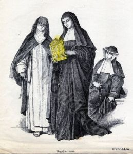 Monachism. Monastic costumes history. Augustinians Nuns habit. .jpg