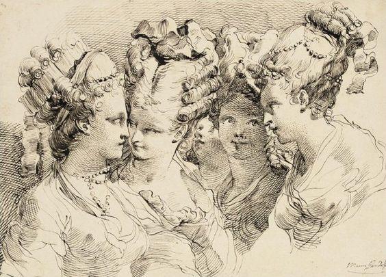 The Heads of Five Young Women with Elaborate Coiffures, Gaetano Gandolfi