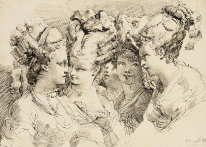 The Heads of Five Young Women with Elaborate Coiffures, Gaetano Gandolfi