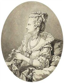 Portrait dans un médaillon d'une dame de profil tenant une guirlande par Jean Michel Moreau le Jeune