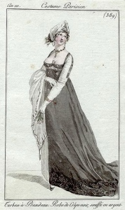 A black crepe dress, an10 Costume parisien -- I'm assuming this belongs under mourning since the dress is made of crepe, but more research will need to be done.jpg