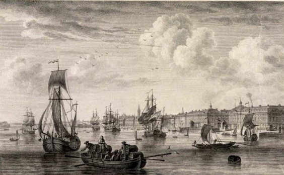 Le Port de Bordeaux, vu devant le Château Trompette sur la Garonne et vu du quai des Farines, gravure sur cuivre d_après N. Ozanne, 2