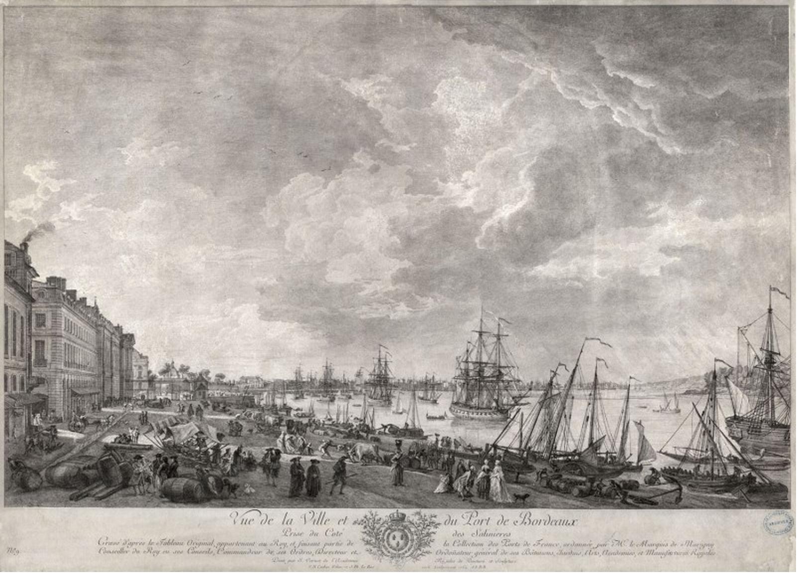 Vue de la ville et du port de Bordeaux prise du coté des salinières, gravure à l'eau forte, d'après Vernet, 54 x 73 cm, 1764.png
