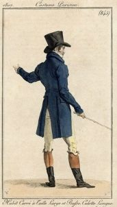 1800 - lange jassen, broek tot over knie, blouse + das met froezels, hoge hoed, stok.jpg