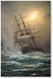 Vlaschenko Valentine (Ukrainian:Russian- 1955) | Ship in a storm .jpg