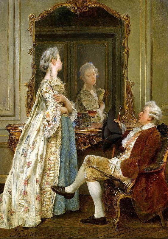 GNACIO DE LEON Y ESCOSURA (SPANISH, 1834-1901) - 'The Courtship'..jpg