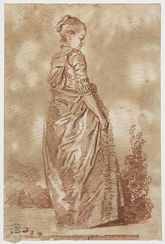 Jeune fille debout tournée vers la droite baissant les yeux (1775-1780)