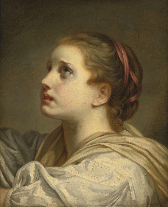 Peypédaut Blanche Marie  (Greuze Follower - PORTRAIT OF A GIRL, HEAD AND SHOULDERS, LOOKING UP.jpg