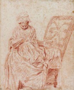 ean-Antoine Watteau (1684-1721), La Ravaudeuse, étude pour L_Occupation, selon l_âge, vers 1715, sanguine