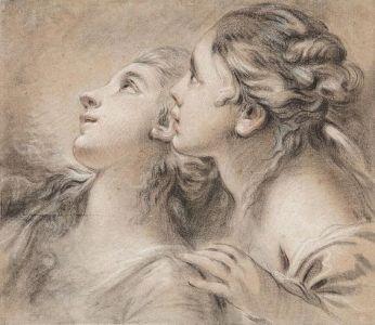 Peydédaut Blanche-Marie  et Marie Baron Roussin(FRANÇOIS BOUCHER (Têtes de deux jeunes femmes de profil Pierre noire.jpg