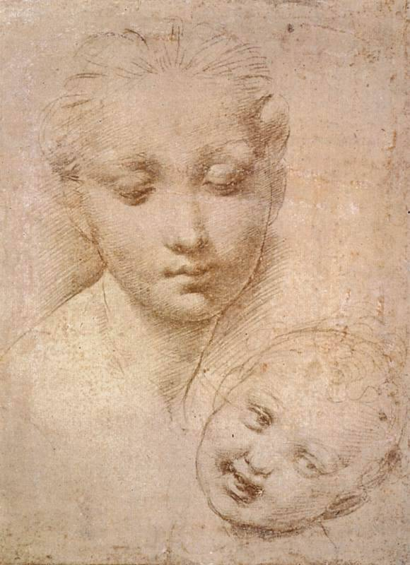 Marie Baron (Study of Heads, Madonna and Child  Drawing · Silverpoint, 1509-1511.jpg