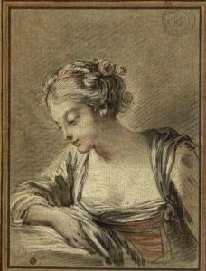 Peydédaut Blanche-Marie  (Buste de jeune fille légèrement inclinée, de trois-quarts à gauche, la tête presque de profil, accoudée du bras droit.jpg