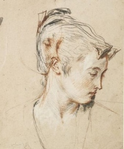 Peydédaut Blanche-Marie  (Watteau, 'Five Studies of a Woman's Head, c.1716-17. Red, black and white chalks with two tones of red chalk, red wash and highlights using white gouache on cream paper. British Museum, London, inv. 1895-9-15-941..jpg