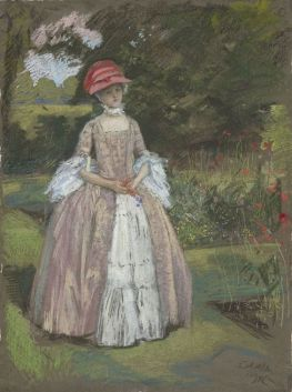 Peypédaut Blanche Marie (Study, Woman in mauve and white dress in garden, 1894, Edwin Austin Abbey.jpg