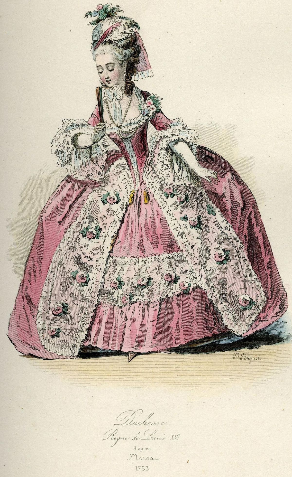 Duchesse, Règne De Louis XVI, D´Après Moreau, 1783 P010077 France. Original lithograph drawn and engraved by Polydore Pauquet. 1864..jpg