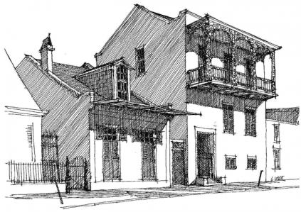 Bosque House, maison typique d'une construction à l'espagnole, après l'incendie de 1795..jpg