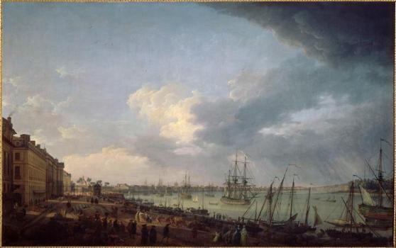 Première vue du port de Bordeaux, prise du côté des salinières (Vernet Joseph (1714-1789)