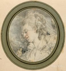 (album factice Femme en buste, les yeux clos de Augustin de Saint-Aubin