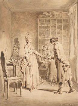 Lotte overhandigt pistolen aan Werthers bediende, Daniel Nikolaus Chodowiecki, 1777